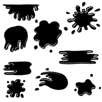 Set of hand drawn blob splash. Premium Vector