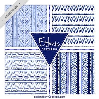 Set of hand drawn blue ethnic patterns