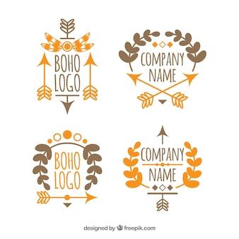 Set of hand drawn boho logos