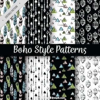 Set of hand drawn boho patterns