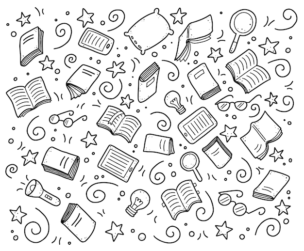 Set of hand drawn book doodle elements