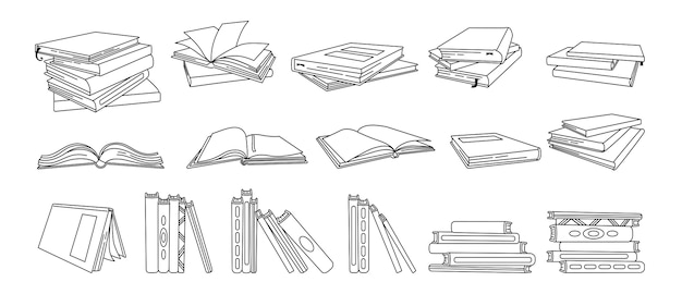 Set of hand drawn books