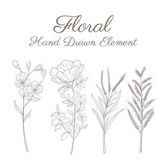 손으로 그린 식물 꽃 장식 요소 설정