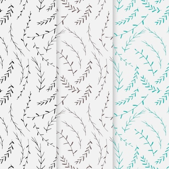 Set of hand drawn botanical pattern background.