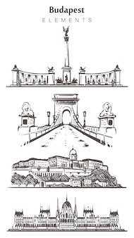 Set of hand-drawn budapest buildings, budapest elements sketch