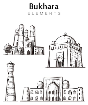 Set of hand-drawn bukhara buildings