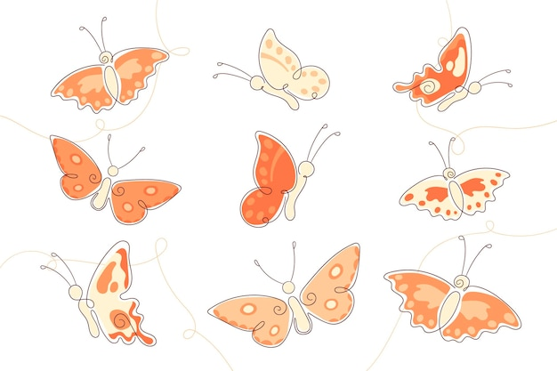 Set of hand drawn butterfly outline