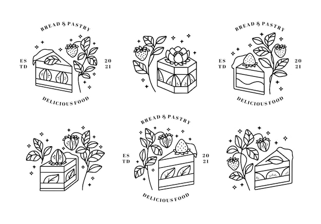 Set of hand drawn cake, pastry and bakery logo elements isolated on white background