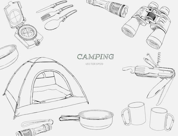 Set of hand drawn camping equipment drawing vector.