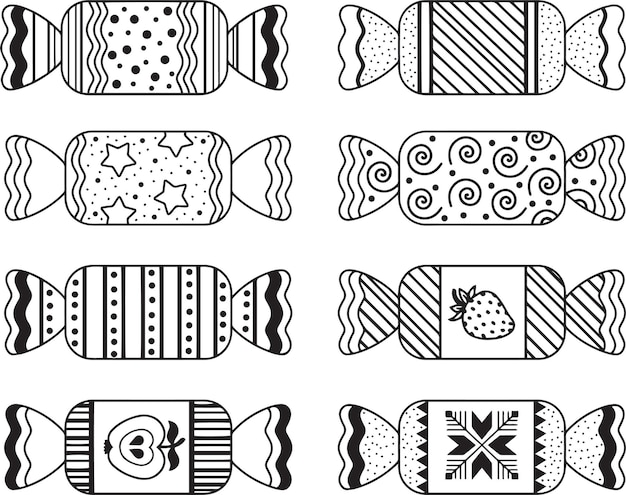 Set of hand drawn candies doodle illustrations for coloring book