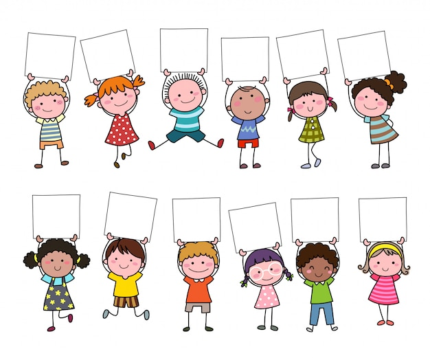 Set of hand drawn cartoon kids holding blank sign.