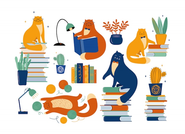 Set of hand drawn cats, books, and houseplants
