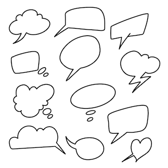 Установить рисованной пузырь чата. речи пузырь наброски вектор