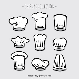Set of hand drawn chef hats