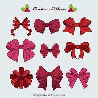 Set of hand drawn christmas bow
