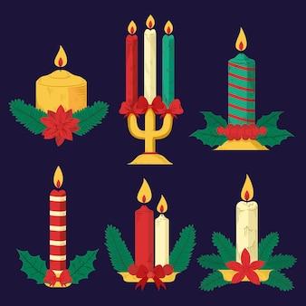 Set di candele di natale disegnate a mano