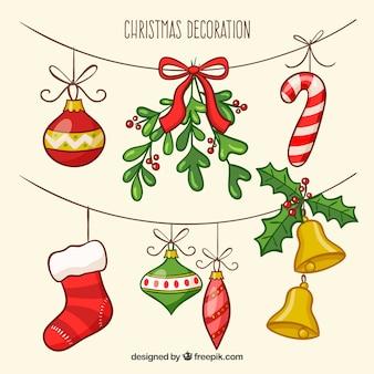 Set di decorazione natalizia disegnata a mano