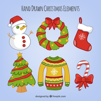 Set of hand drawn christmas decorative elements
