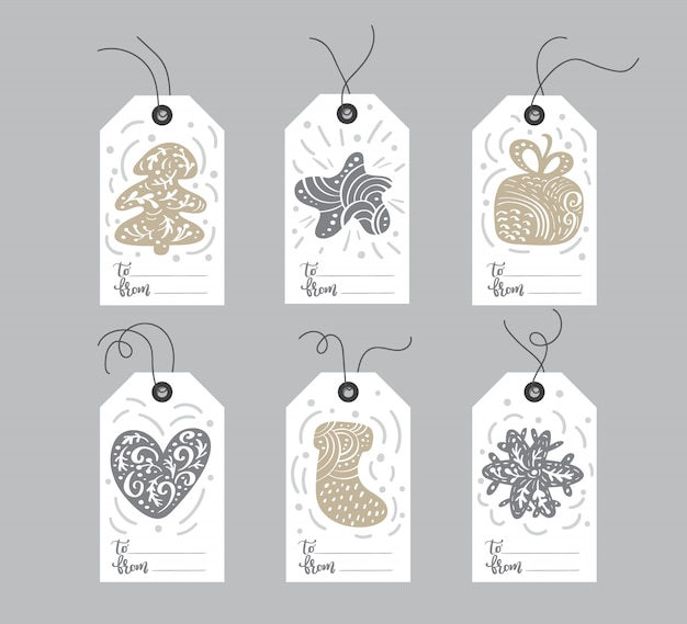 Set of hand drawn christmas element tags