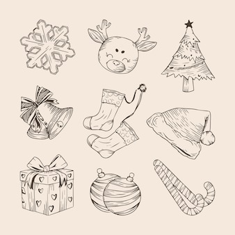 Set of hand drawn christmas elements