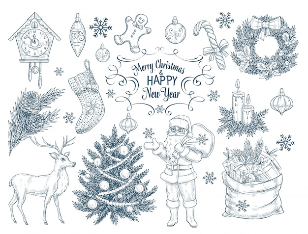 Set of hand drawn christmas elements.