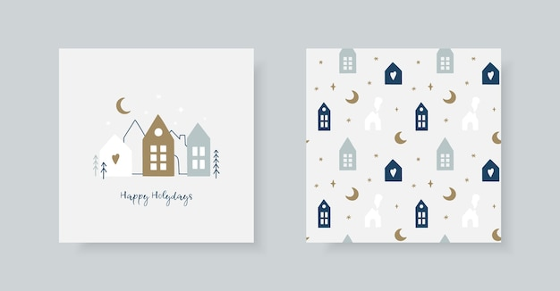 Set of hand drawn christmas greeting card and winter pattern