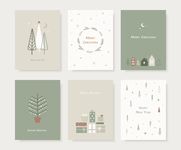 Set of hand drawn christmas greeting cards