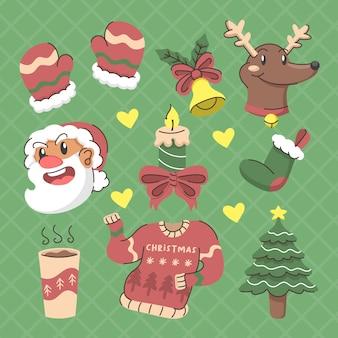 Set of hand drawn christmas illustration