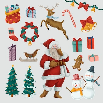 Set of hand drawn christmas illustrations