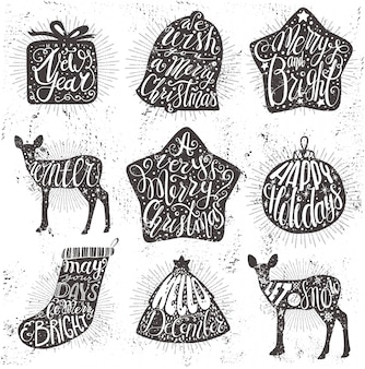 Set of hand drawn christmas objects with lettering. christmas quotes background on grange