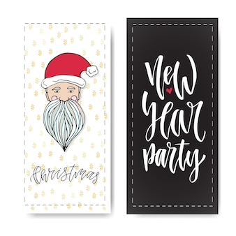 Set of hand drawn christmas party and new year banners