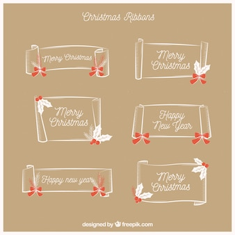 Set of hand drawn christmas ribbons