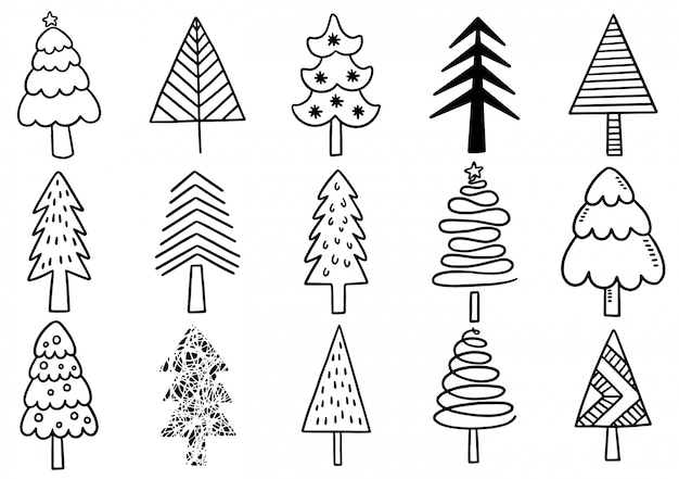 Set of hand drawn christmas tree isolated elements.