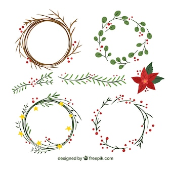Set of hand-drawn christmas wreaths