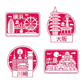Set of hand drawn city stamps