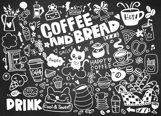 Set of hand drawn coffee and delicious sweets .  illustration