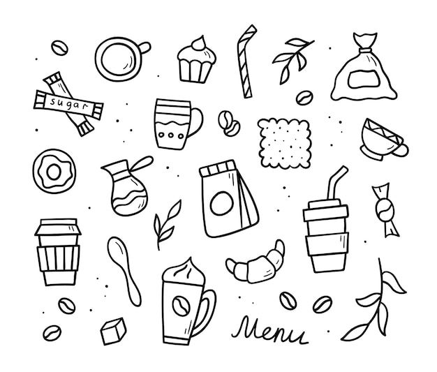 Set of hand drawn coffee doodles. vector symbols and objects. sketch style illustration.