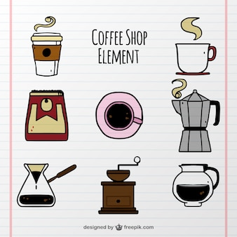 Set of hand drawn coffee elements