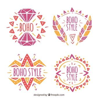 Set of hand drawn colored boho