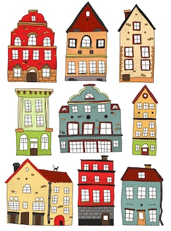 Set of hand drawn colored buildings