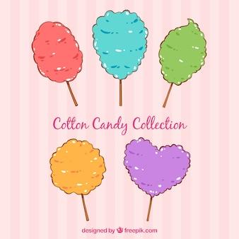 Set di caramelle di cotone colorato disegnato a mano