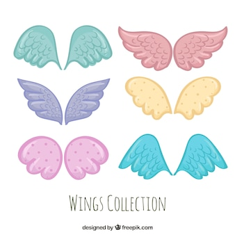 Set of hand drawn colored wings