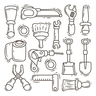 Set of hand drawn construction equipment cartoon doodle collection coloring