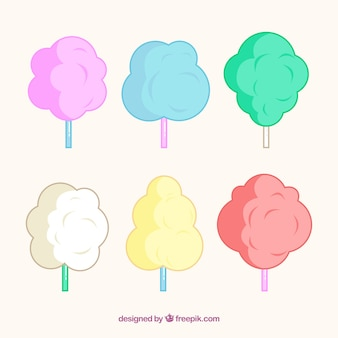 Set of hand drawn cotton candy