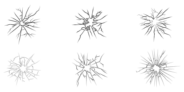 Set of hand drawn cracked glass. isolated on white background. design element. vector illustration
