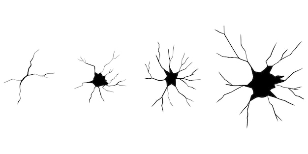 Set of hand drawn cracks isolated on white background. vector illustration