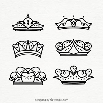 Set of hand drawn crowns