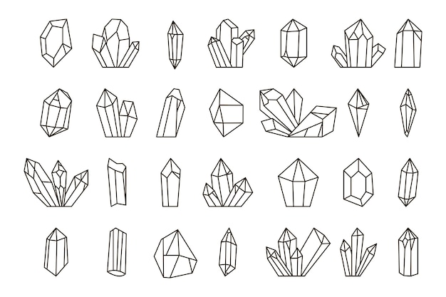 Set of hand drawn crystals.