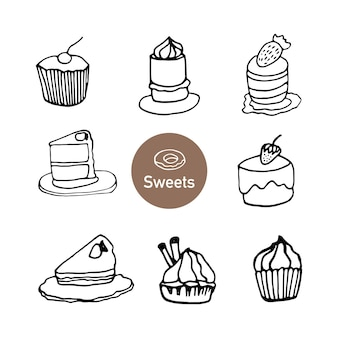 Set of hand drawn cupcake, muffin and cakes. doodle vector illustration