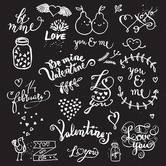 Set of hand drawn cute creative symbols of love on chalkboard.